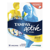 Tampax Pearl Active Plastic Unscented Tampons, Regular Absorbency 18 ea [073010710726]