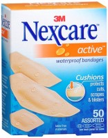 Nexcare Active Extra Cushion Bandages Assorted 50 Each [051131997790]