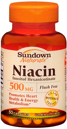 Sundown Niacin 500 mg Capsules Flush Free 50 Capsules [030768037871]
