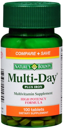 Nature's Bounty Multi-Day Multivitamin Plus Iron Tablets 100 Tablets [074312015809]