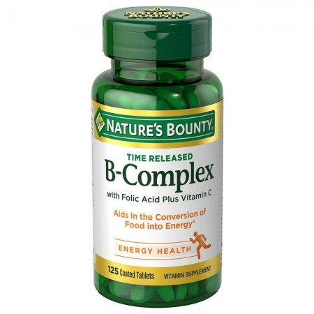 Nature's Bounty B-Complex With Folic Acid Plus Vitamin C Tablets 125 Tablets [074312005305]