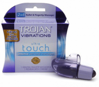 TROJAN Vibrations Ultra Touch Intense Vibrating Fingertip & Condom Personal Massager 1 ea [022600906476]