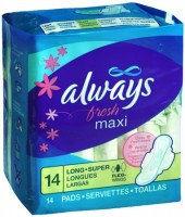 Always Fresh Pads Long Super Flexi-Wings Clean Fresh Scent 14 Each [037000029212]