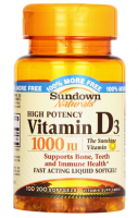 Sundown Naturals High Potency D3 Vitamin D 1000 IU Softgels 100 ea [030768156053]