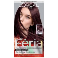 L'Oreal Feria Multi-Faceted Shimmering Colour, Warmer, 36 Deep Burgundy Brown, 1 ea [071249230039]