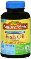 Nature Made Fish Oil 1200 mg + Vitamin D Liquid Softgels 90 Soft Gels [031604026028]