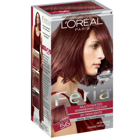 L'Oreal Feria Multi-Faceted Shimmering Colour, Warmer, 56 Auburn Brown, 1 ea [071249230077]