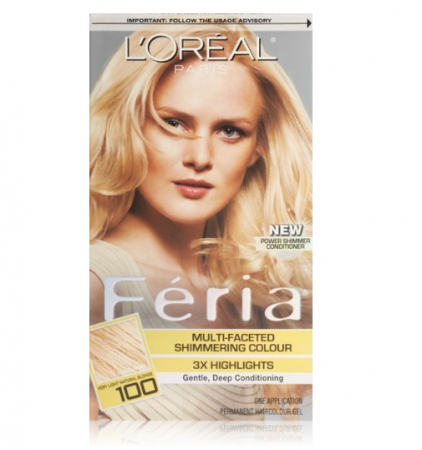 L'Oreal Paris Feria Multi-Faceted Shimmering Color, Very Light Natural Blonde [100] 1 ea [071249230237]