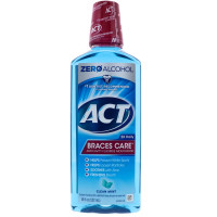 ACT Braces Care Anticavity Fluoride Mouthwash, Clean Mint 18 oz [041167095232]
