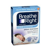 Breathe Right Nasal Strips Clear For Sensitive Skin Large 30 Each [757145002467]