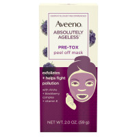 AVEENO Absolutely Ageless Pre-Tox Peel Off Antioxidant Face Mask with Alpha Hydroxy Acids, Vitamin E & Blackberry Complex, Non-Comedogenic 2  oz [381371181698]