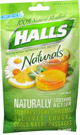 Halls Naturals Drops Honey-Lemon Chamomile 25 Each [312546634039]