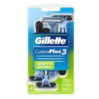 Gillette Custom Plus 3 Razors Sensitive 4 Each [047400053816]