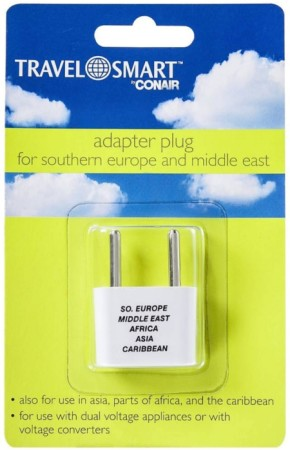 Conair Travel Smart Adapter Plug For Southern Europe & Middle East 1 ea [039052720000]