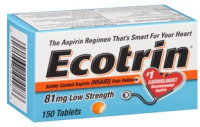 Ecotrin 81 mg Safety Coated Enteric Aspirin, Low Strength Tablets 150 ea [042037104276]