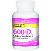 21st Century 600mg+D3 Calcium Supplement Tablets 75 ea [740985275290]