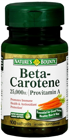 Nature's Bounty Beta Carotene Provitamin A 25,000 IU Softgels 100 Soft Gels [074312012204]