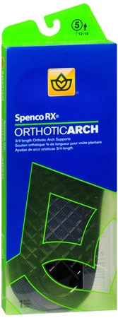 Spenco RX 3/4 Length Orthotic Arch Supports Size 5 1 Pair [038472443155]