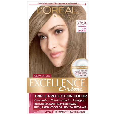 L'Oreal Paris Excellence Créme Permanent Hair Color, 7.5A Medium Ash Blonde 1 ea [071249210680]