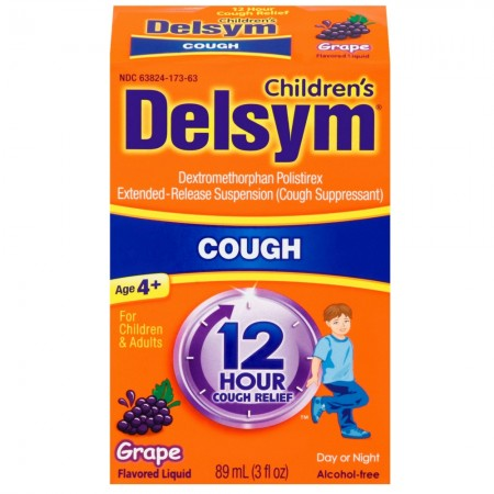 Delsym Children's Cough Suppressant Liquid, Grape Flavor, 3 oz [363824272634]