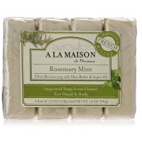 A LA MAISON Bar Soap, 3.5 oz bars, Rosemary Mint 4 ea [182741000980]