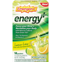 Emergen-C Energy+ Fizzy Drink Mix Packets with Caffeine, Lemon-Lime 18 ea [076314510177]
