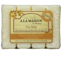 A La Masion Bar Soap Oat Milk, 3.5 oz bars, 4 ea [817252010080]