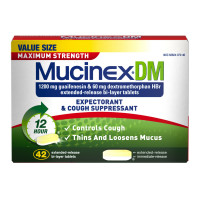 Mucinex DM Maximum Strength 12-Hour Expectorant and Cough Suppressant Tablets, 42 Count [363824072463]