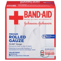 BAND-AID First Aid Rolled Gauze Sterile Roll, Medium 5 ea [381371161409]