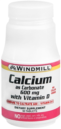 Windmill Calcium Carbonate 600 mg Tablets With Vitamin D 60 Tablets [035046000639]