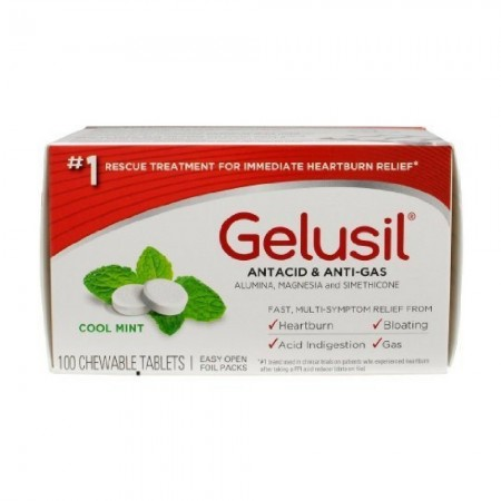 Gelusil Antacid/Anti-Gas Tablets Cool Mint, 100 Tablets [365197300105]