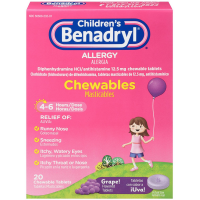 Benadryl Children's Allergy Chewable Tablets, Grape Flavored 20 ea [300450553201]