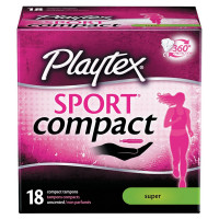 Playtex Sport Super Absorbency Compact Tampons with Flex-Fit Technology 18 ea [078300018230]