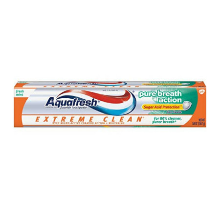 Aquafresh Extreme Clean Pure Breath Action Fluoride Toothpaste, Fresh Mint 5.6 oz [053100341658]
