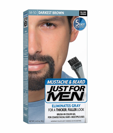 JUST FOR MEN Color Gel Mustache & Beard, M-50 Darkest Brown 1 ea [011509049018]