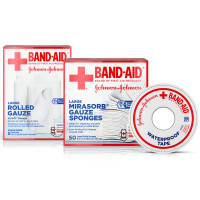 BAND-AID Mirasorb Gauze Sponges 50 ea & Band-Aid Rolled Gauze, Minor Wound Care 5 ea & Band-Aid Waterproof Tape To Secure Bandages 1 ea [191567552436]