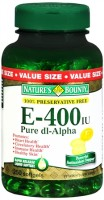 Nature's Bounty Vitamin E 400 IU Softgels Pure DL-Alpha 250 Soft Gels [074312017735]
