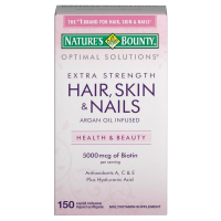 Nature's Bounty Optimal Solutions Extra Srength Hair Skin & Nails 5000 mcg of Biotin, Softgels 150 ea [074312357107]