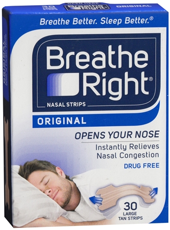 Breathe Right Nasal Strips Original Tan Large 30 Each [757145001323]