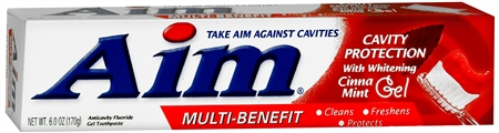 Aim Cavity Protection Toothpaste Gel Whitening Cinnamint 6 oz [033200261056]