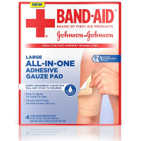 BAND-AID All-In-One Adhesive Gauze Pads, Large 4 ea [381371166282]