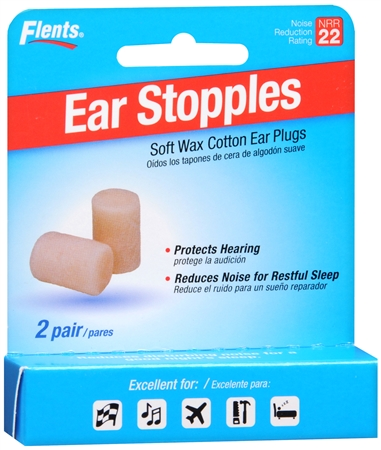 Flents Ear Stopples Soft Wax-Cotton Ear Plugs 2 Pairs [023185022414]