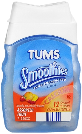 TUMS Smoothies Tablets Assorted Fruit 12 Tablets [307660740650]