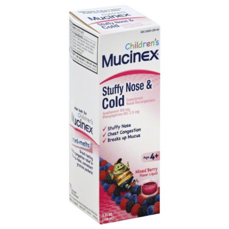 Mucinex Children's Liquid - Stuffy Nose & Cold Mixed Berry 4 oz. [363824277646]