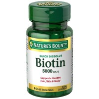 Nature's Bounty Biotin 5000 mcg Quick Dissolve Tablets 60 ea [074312589133]