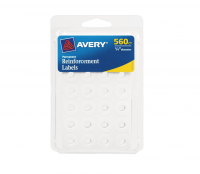 Avery Self-Adhesive Reinforcement Labels, 0.25 Inches, Round, White 560 ea [072782067342]