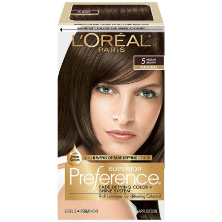 L'Oreal Superior Preference Permanent Hair Color, 5 Medium Brown 1 ea [071249253069]