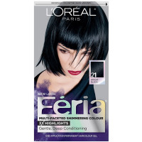 L'Oreal Feria Multi-Faceted Shimmering Colour, 21 Bright Black, 1 Each [071249230015]