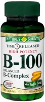 Nature's Bounty Vitamin B-100 B-Complex Tablets Time Released 60 Tablets [074312028175]