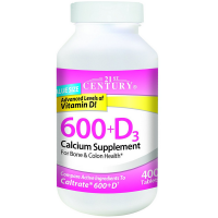 21st Century 600 +D3 Calcium Supplement Tablets 400 ea [740985275313]
